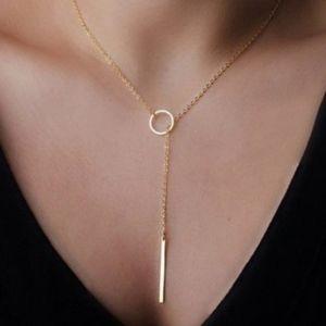 'Eva' Minimalist Gold Lariat Necklace
